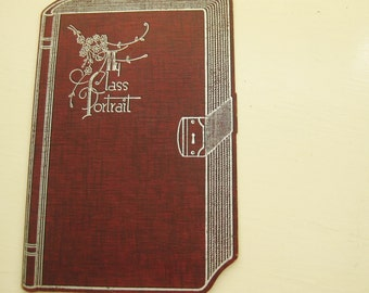 Vintage class portrait folder in silver and burgandy