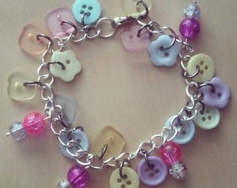 Button Charm Bracelet - Charm Bracelet - Pastel - Buttons