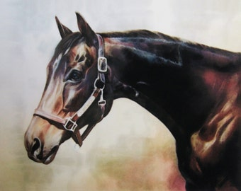 bay thoroughbred horse art print of pastel painting of a retired racehorse equine giclee print fine art horse print