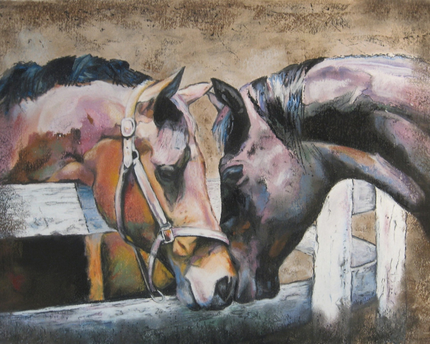 Fine Art Print Of Two Horses From Pastel Painting Thoroughbred