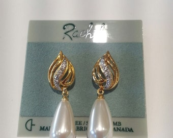 RACHEL Vintage Style Sarovski Set Pearl Earrings
