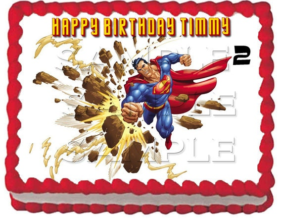 Superman Edible Cake Images : 4 Superman Edible Cake Toppers