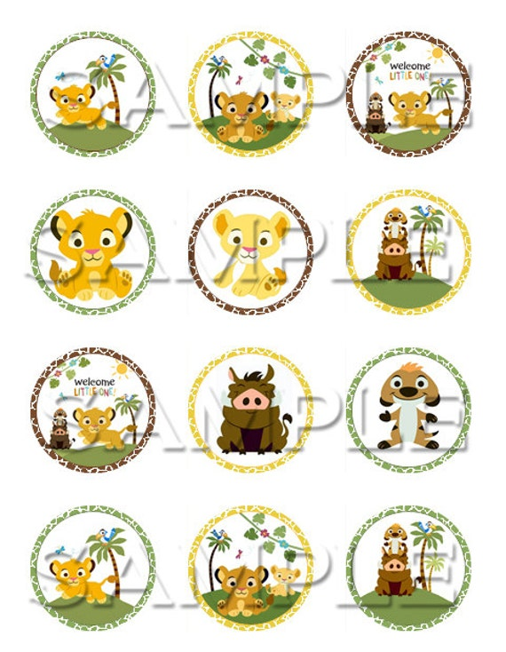Baby Lion King Edible Cupcake Toppers