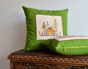 Hand Embroidery Pillow, Applique Pillow Cover - Applique Embroidery Designs - Decorative Pillows For Couch