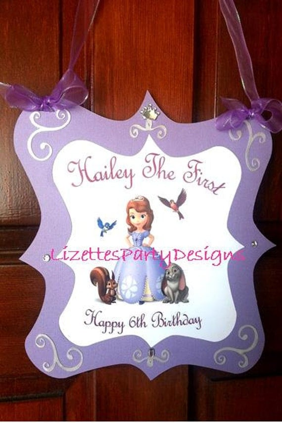 Sofia the First Personalized Elegant Door Party Sign