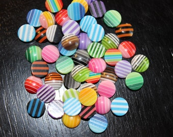 50 cabochons, round with a flat back, striped mixed colors, 10 mm, perfect for earrings