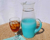 VINTAGE BLENDO GLASS Frosted Aqua Pitcher and Four Glasses by West Virginia Glass Company - BridgetsCollection