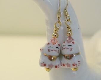 Sakura Beckoning Cat Earrings