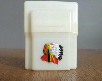 Rare Historical Tupperware. Earl S. Tupper. Viscoloid 1940s Cigarette Case. Indian Chief Tobacco.
