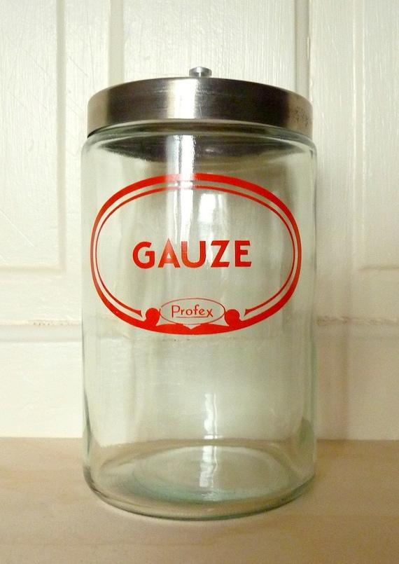 Glass Medical Jar Doctors Office Gauze By Bluesugarvintage