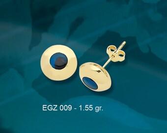 14K Solid Gold Evil Eye Good Luck Earrings EGZ009