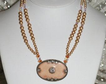 Vintage French Enameled Brooch Necklace