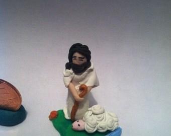 handmade polymer clay good shepherd