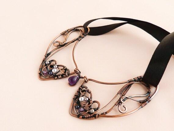 Amethyst Collar - Wire jewelry - Copper collar - Wire neclace with black  Ribbon - Accessory