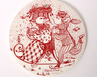 Wiinblad plate, JANUARY platte, Birthday nymolle red, Bjorn Wiinblad plate, Denmark platte danish kontakt, Vintage retro home decor, Gift