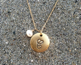Monogram Necklace, Initial Necklace, Birthstone, Gold Necklace, Birthday