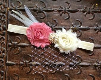 Pearl Flower Girl Headband, Ivory Flower Girl Hair Accessory, Pink Flower Girl Head Piece, Flower Girl Halo, Ivory Flower Girl Head Wreath