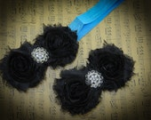 black shabby flower headband