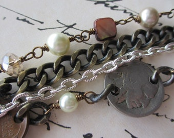 Three Coin Bracelet  - Vintage American Coins - Mixed Metal - Pearl, Stone and Crystal - Your Go To Bracelet