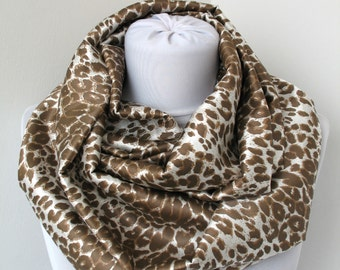 CLEARANCE SALE - Leopard Satin Scarf - Infinity Scarf - Loop Scarf - Circle Scarf - Scarf Necklace - 376