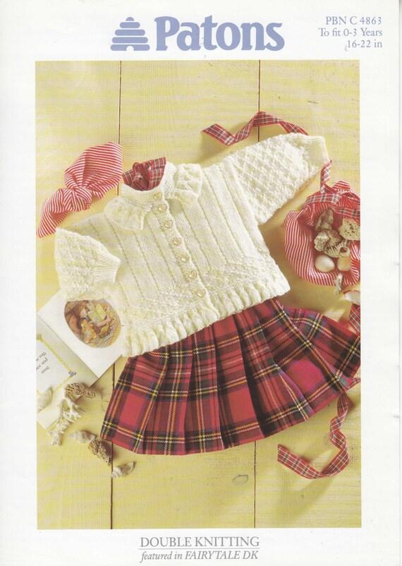 Patons Knitting Patterns For Babies : 4863 Patons Knitting Pattern Baby Toddler Girls Cardigan