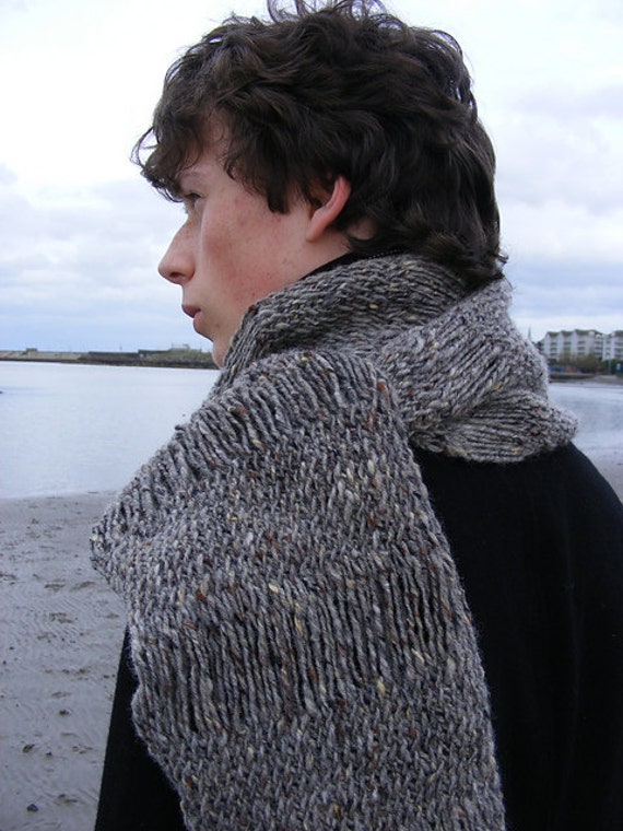 Mens Scarf PDF Knitting Pattern, grey tweed scarf pattern, quick knit men...