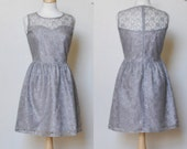 PROVENCE (Grey) : Grey lace dress, sweetheart neckline,  vintage, shirred skirt, chiffon sash, party, day, bridesmaid - mfandj