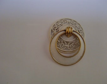 Vintage White With Gold Tone Round Monet Brooch