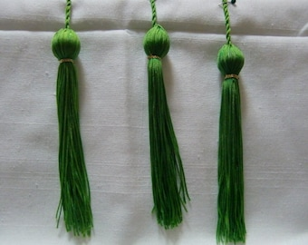 Large Green Chainette Tassles 6 Inch Long and whoe Tasse is 9 Inches Long