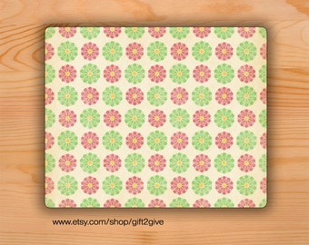 Mousepad Faded Green and Pink flowers