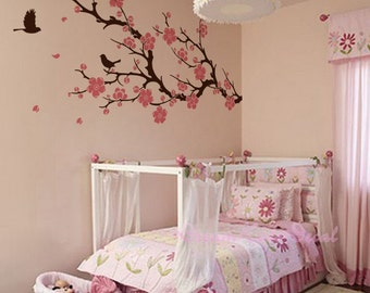 Wall Decals Cherry Blossom branch wall decals nursery wall decals children girl baby wall decals wall sticker wall decor flying birds -DK048