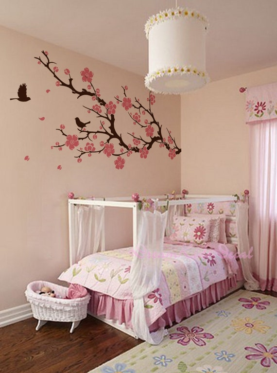 stickers muraux fleur de cerisier branche mural stickers. Black Bedroom Furniture Sets. Home Design Ideas