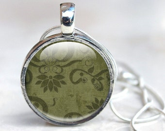 Picture Pendant Glass Dome Vintage Glass Pendant Necklace, Green Glass picture pendant with silver chain, Green Vintage Pattern
