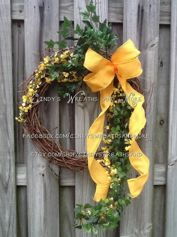 Grapevine Wreath with Yellow Silk Flowers Ivy and Yellow