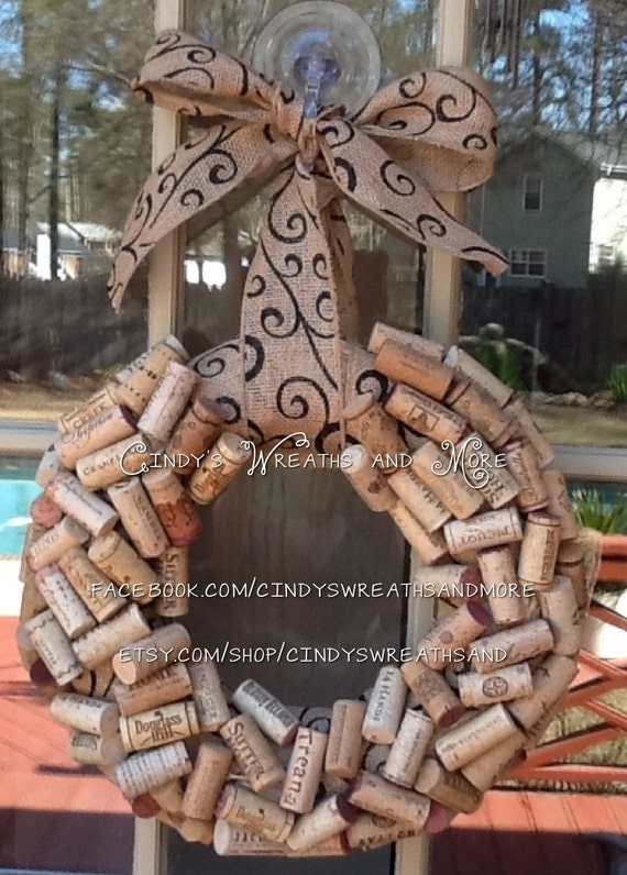 Recycled wine cork wreath cork wreath wreath burlap ribbon and bow