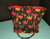 Quilted fabric zippered rooster print tote bag / purse