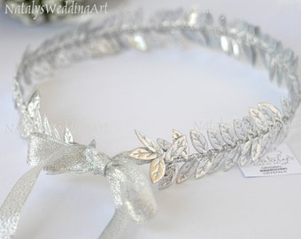 Wedding Bridal Halo Silver Color Leafs Ancient Greek Crown / Grecian Headpiece / Greek Headband / Wedding Crown