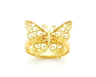 14kt Gold Filigree Beaded Butterfly Ring