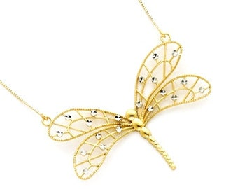 14k gold Two toned webbed Dragonfly necklace.