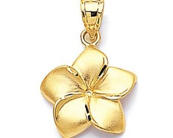 14kt gold plumeria flower pendant