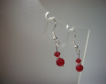 Red crystal beaded earrings - small