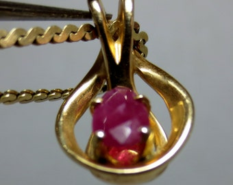 NATURAL RUBY PENDANT Gold Pendant - Jewelry Gift