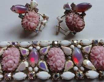 Hobe Jewelry Designer for Ziegfeld Follies 1950s Bracelet Earrings Set