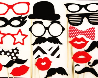 Photo Booth Props - 20 Piece Mustache, Lips, Glasses - Wedding Birthday PhotoBooth Props