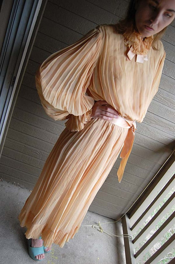 Peach Pleated Frothy 1970s Bill Blass Made In NY Dress with Sash Victorian romance bridal Derby