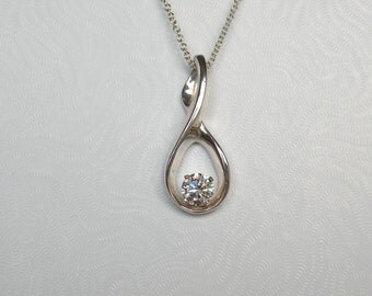 Sterling Silver Pendant with 6.5mm CZ P9