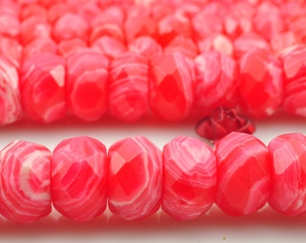 64 pcs of Rhodonite faceted rondelle beads in 6x10mm