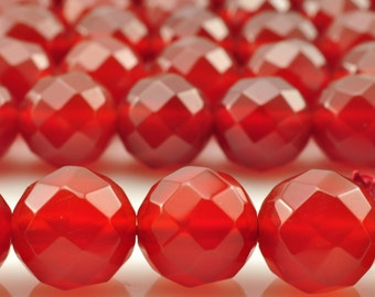 37 pcs of Natural Carnelian faceted round beads in 10mm (64 faces)