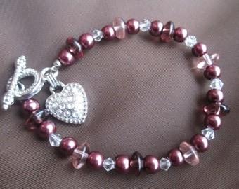 Berry faux pearl bracelet