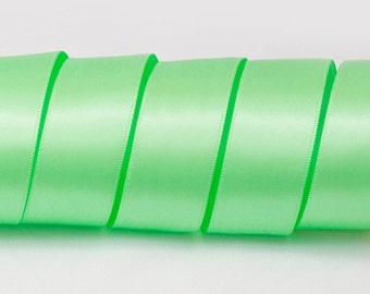 "Mint Green Ribbon, Double Faced Satin Ribbon, Widths Available: 1 1/2"", 1"", 6/8"", 5/8"", 3/8"", 1/4"", 1/8"""